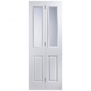 Internal White Moulded Unfinished Atherton 2L Bi-Fold Door with Clear Glass (APBIAT+GCF)