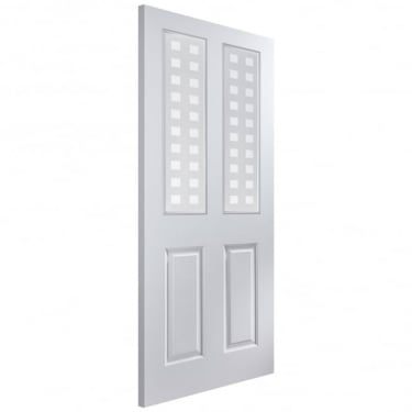 Internal White Moulded Unfinished Atherton 2L Door with Geometric Glass (APATH+GE)