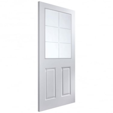 Internal White Moulded Unfinished Atherton 6L Door with Etched Clear Glass (APHATH+SE)