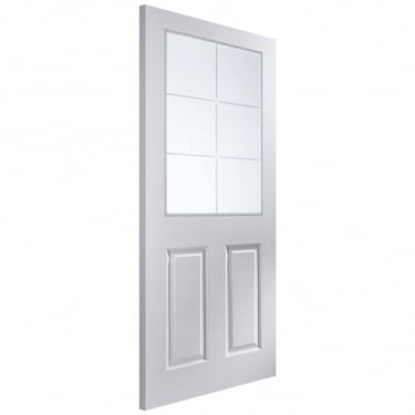 Internal White Moulded Unfinished Bostonian Oakfield 12L Door with Etched Clear Glass (APHOFD+SE)