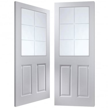Internal White Moulded Unfinished Bostonian Oakfield 12L Pair Door with Etched Clear Glass (APHOFD+SE)