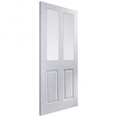 Internal White Moulded Unfinished Bostonian Oakfield 2L Door with Etched Clear Glass (APOFD+ET)