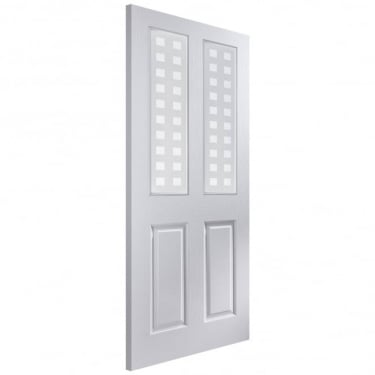 Internal White Moulded Unfinished Bostonian Oakfield 2L Door with Geometric Glass (APOFD+GE)