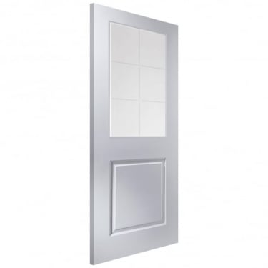 Internal White Moulded Unfinished Cambridge 6L Door with Etched Clear Glass (APHCAMB+SE)