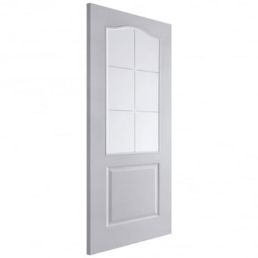 Internal White Moulded Unfinished Camden 6L Door with Simulated Etched Clear Glass (APHCMN+SE)