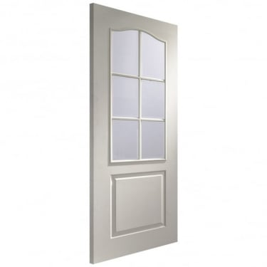 Internal White Moulded Unfinished Classique 6L Door with Clear Bevelled Glass (GWM6L)