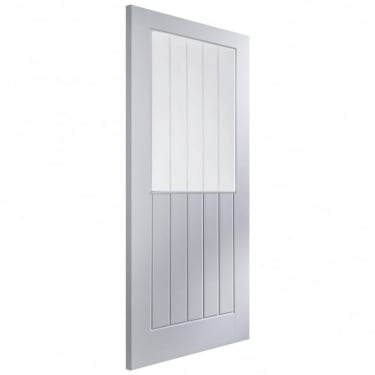 Internal White Moulded Unfinished Newark 1L Door with Vertical Etched Clear Glass (APHNEWA+VE)
