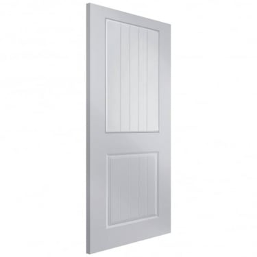 Internal White Moulded Unfinished Newbridge 1L Door with Vertical Etched Clear Glass (APHNEWB+VE)