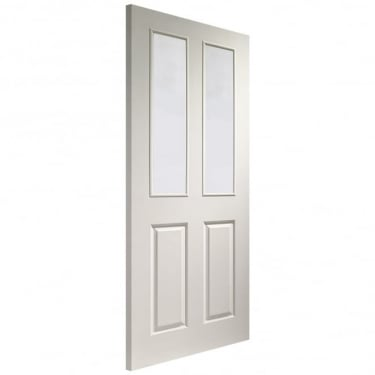 Internal White Moulded Unfinished Victorian 2L Door with Clear Glass (GWMVICC)