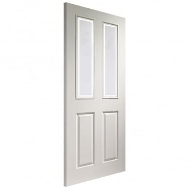 Internal White Moulded Unfinished Victorian 2L Door with Forbes Glass (GWMVICF)