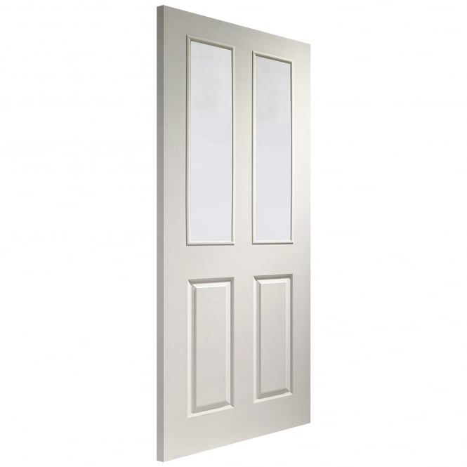 Internal White Moulded Victorian Door with Clear Glass