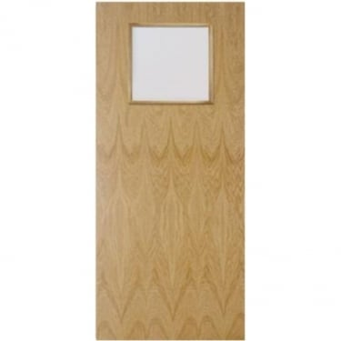 Internal White Oak Fully Finished Crown Cut GC01 1L Flush FD30 Fire Door with Clear Glass (WOKOVF+GC01)
