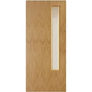 Internal White Oak Fully Finished Crown Cut GC06 1L Flush FD30 Fire Door with Clear Glass (WOKOVF+GC06)