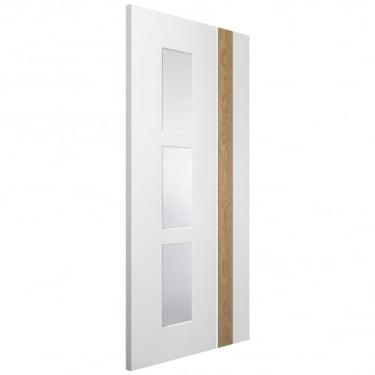 Internal White & Oak Fully Finished Fusion Praiano 3L Door with Clear Glass (PFGWOPRA)