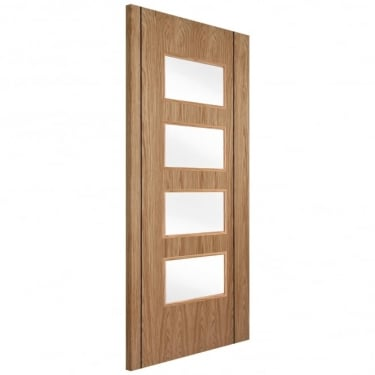 Internal White Oak Fully Finished Twin Inlay 4L Flush Door with Clear Glass (WOKTWISC4+GCF)