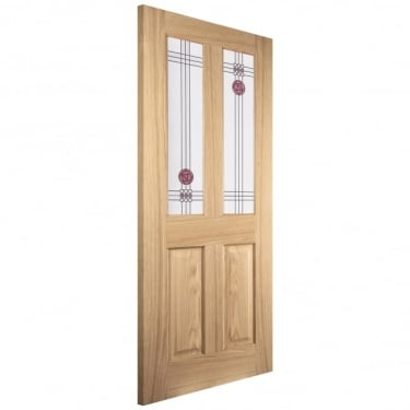 Internal White Oak Unfinished Mackintosh 2L Flush Door with Decorative Glass (IMACK2L)