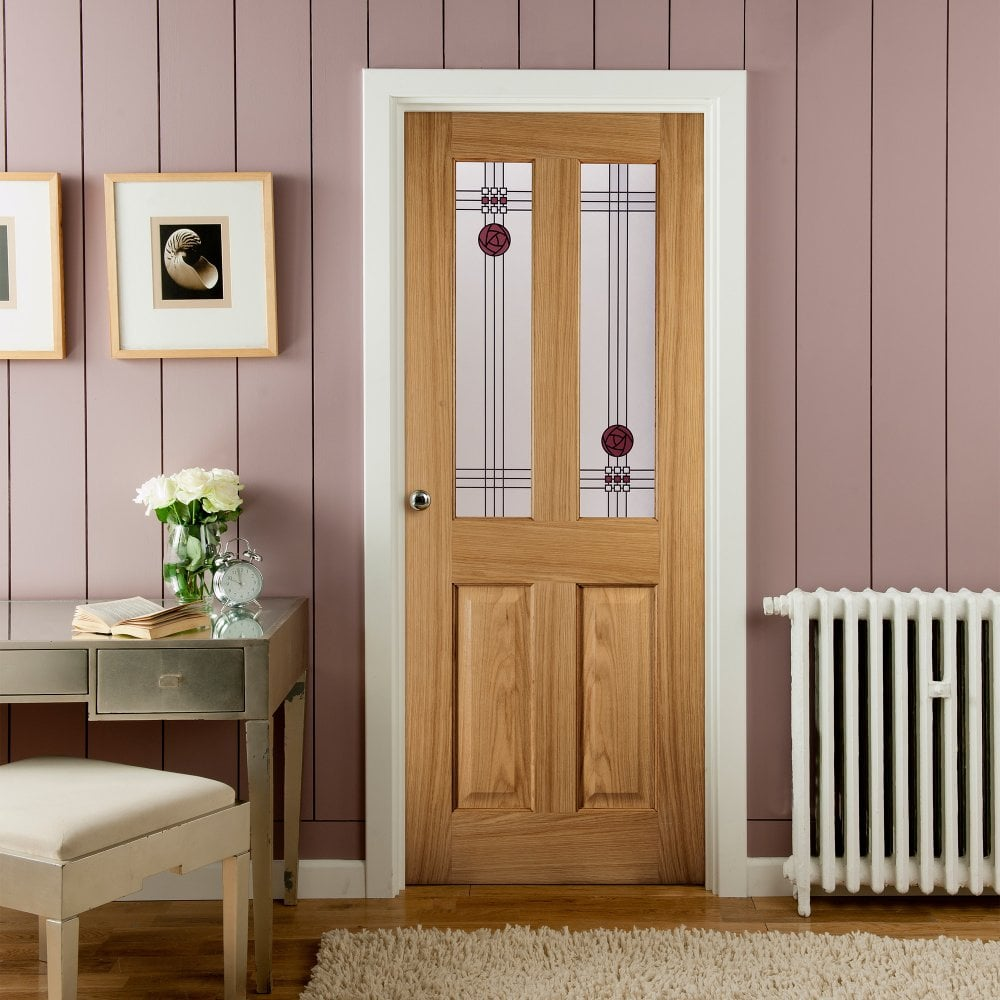 Prime Internal White Oak Unfinished Mackintosh 2L Flush Door With Decorative Glass Imack2L Home Interior And Landscaping Pimpapssignezvosmurscom