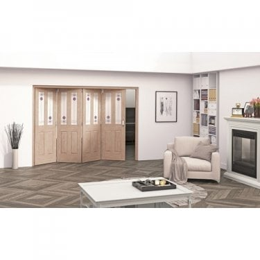 Internal White Oak Unfinished Mackintosh 2L Heavyweight Room Fold Room Divider with Decorative Glass (RF+OKMC2GC)