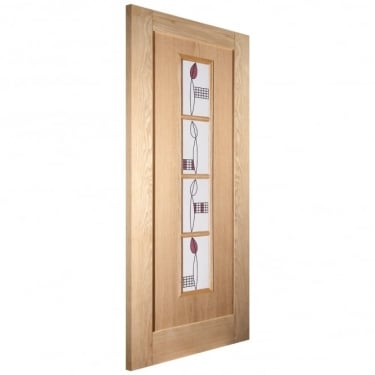 Internal White Oak Unfinished Mackintosh 4L Door with Decorative Glass (IMACK4L)