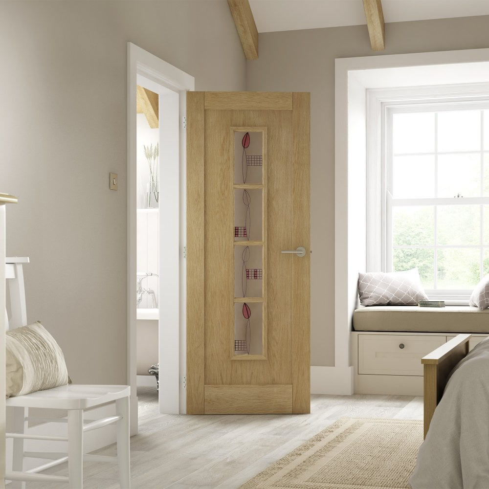 Amazing Internal White Oak Unfinished Mackintosh 4L Door With Decorative Glass Imack4L Home Interior And Landscaping Pimpapssignezvosmurscom