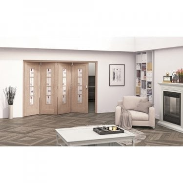 Internal White Oak Unfinished Mackintosh 4L Heavyweight Room Fold Room Divider with Decorative Glass (RF+OKMC4GC)