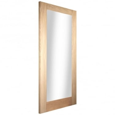 Internal White Oak Unfinished Shaker 1L Door with Clear Glass (WOAKSHAK1+GCF)