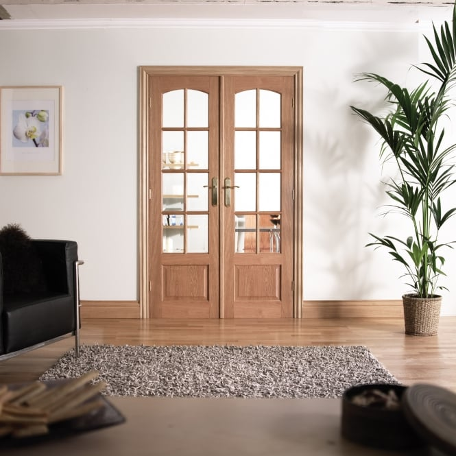 LPD Internal White Oak W4 Room Divider With Clear Bevelled Glazing