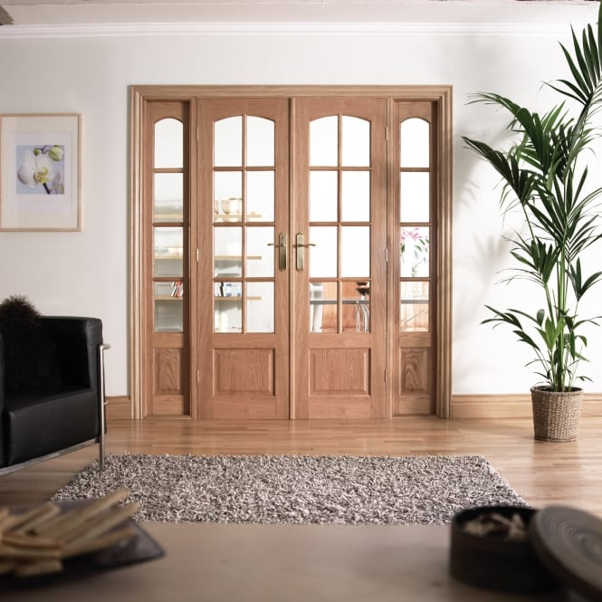 LPD Internal White Oak W6 Room Divider With Clear Bevelled Glazing