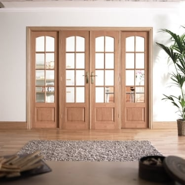 Internal White Oak W8 Room Divider With Clear Bevelled Glazing