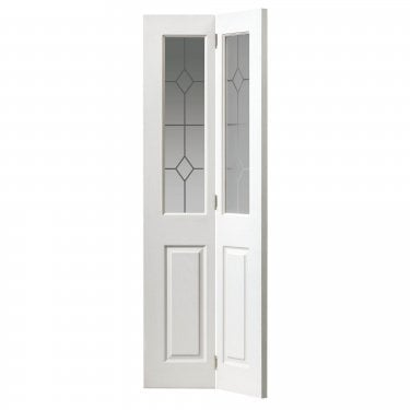 Internal White Primed 4 Panel Classic Grained Canterbury 2L Bi-Fold Door with Etched Clear Glass (CANBFGLT)