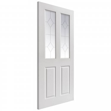 Internal White Primed 4 Panel Classic Grained Canterbury 2L Door with Etched Clear Glass (CANGL)