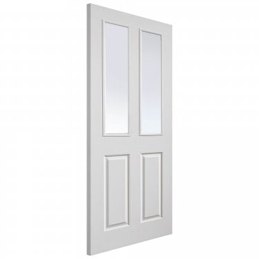 Internal White Primed 4 Panel Classic Grained Canterbury 2L FD30 Fire Door with Pyran Clear Glass (CANGLFD30)
