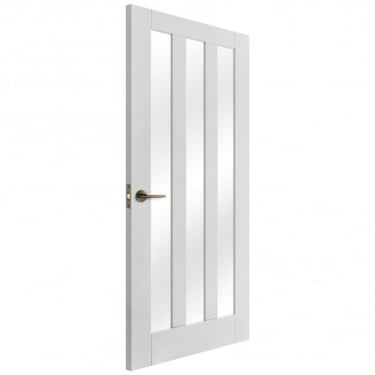 Internal White Primed Ashton 3L Door with Clear Glass (IWPASHCG)