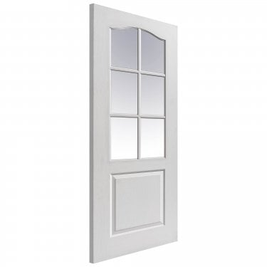 Internal White Primed Classic Classique 6L Door with Clear Glass (CLAGLS)