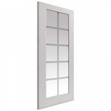 Internal White Primed Classic Decca 10L Door with Etched Clear Glass (Dec)