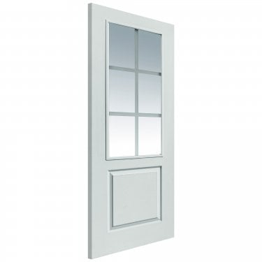 Internal White Primed Classic Faro 6L Solid FD30 Fire Door with Pyrodur Etched Clear Glass (CAPFARFD30)