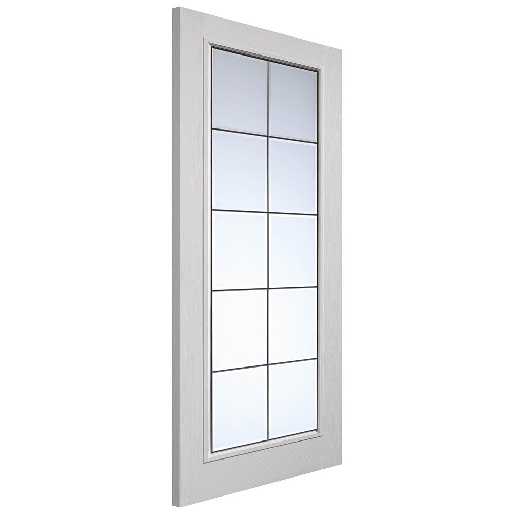 Internal White Primed Classic Woodgrained Decima Door With Brushed Chrome Clear Bevelled Glass Ccapdec