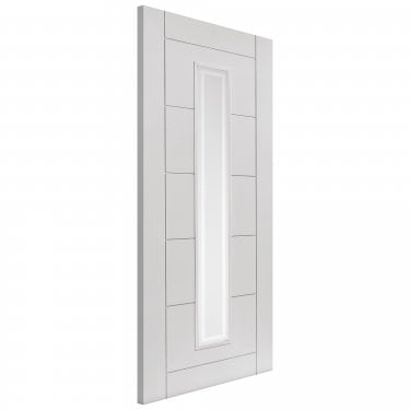 Internal White Primed Contemporary Barbican 1L FD30 Fire Door with Etched Clear Glass (LBARFD30)