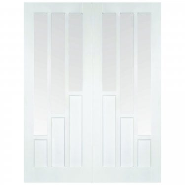 Internal White Primed Coventry 6L Pair Door with Clear Glass (WFPRSCOVCG)
