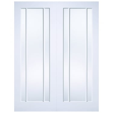Internal White Primed Lincoln Pair Doors with Clear Glass