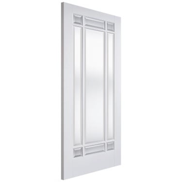 Internal White Primed Manhattan 9L Door with Clear Bevelled Glass (WFMANCG)