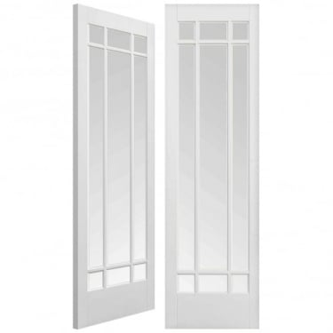 Internal White Primed Manhattan Pair Door with Clear Bevelled Glass