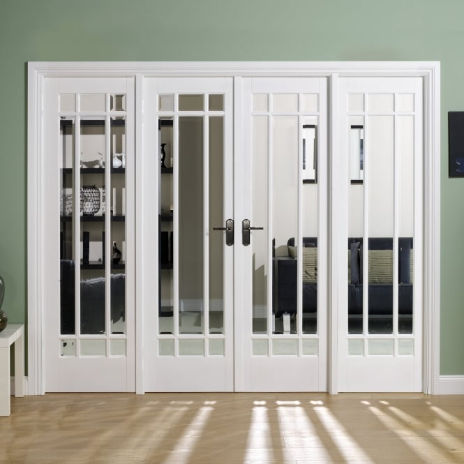 Internal White Primed Manhattan W8 Room Divider With Clear Bevelled Glazing
