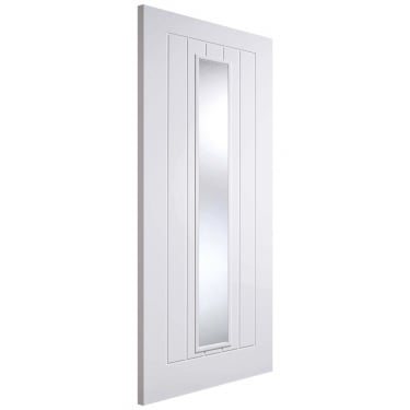 Internal White Primed Mexicano 1L Door with Clear Glass and Raised Mouldings (WFMEXGL)
