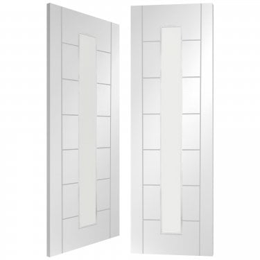Internal White Primed Palermo 1L Pair Door with Clear Glass (GWPPAL1L)