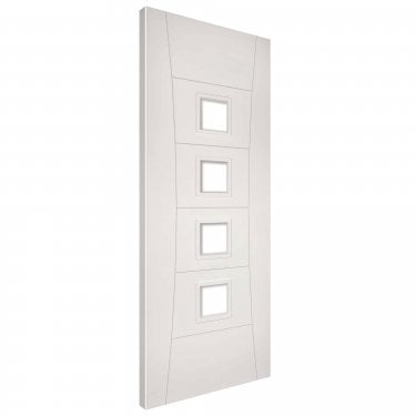 Internal White Primed Pamplona 4L Solid FD30 Fire Door with Deanta Fire Glass (PAMPCGF/DWHP)