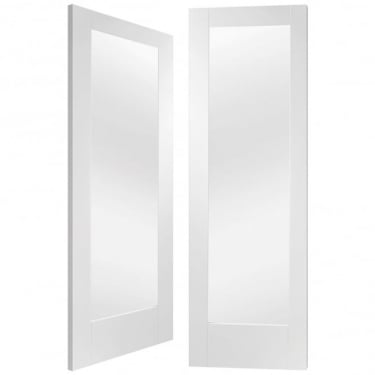Internal White Primed Pattern 10 2L Pair Door with Clear Glass (GWPP10C)
