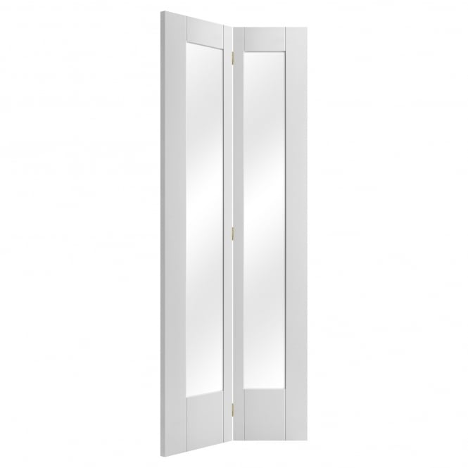 Liberty Doors Internal White Primed Pattern 10 Bi-Fold Door with Clear Glass