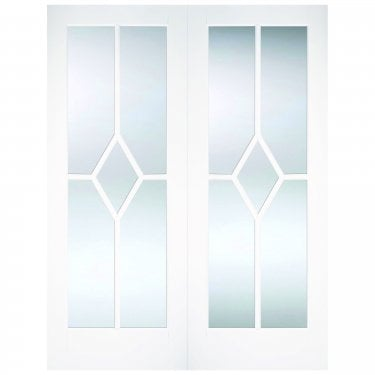 Internal White Primed Reims 10L Pair Door with Clear Bevelled Glass (WFPRSREICG)
