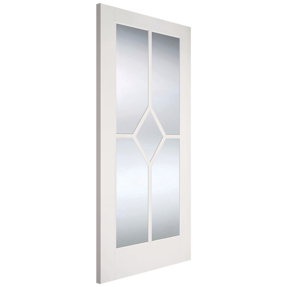 LPD Internal White Primed Reims Diamond Door with Clear Bevelled Glass | Leader Doors  sc 1 st  Leader Doors & LPD Internal White Primed Reims Diamond Door with Clear Bevelled ...